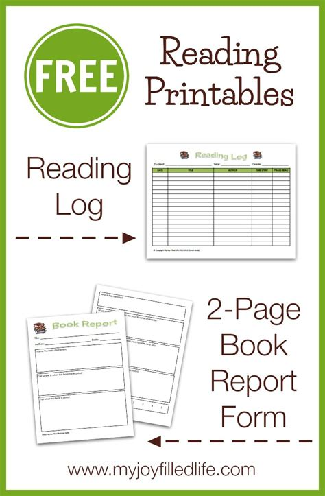 FREE Reading Log & Book Report Form   My Joy Filled Life