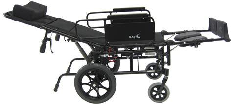 reclining transport chair karman km 5000f tp aluminum reclining transport wheelchair
