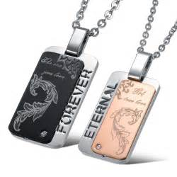 Engravable Necklace His Amp Hers Square Stainless Steel Matching Couples Pendants Necklaces Set Yoyoon 8935