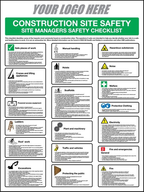 site safety template call signs construction safety checklist