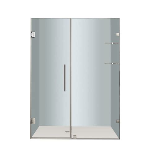 52 Inch Shower Door Aston Nautis Gs 52 In X 72 In Completely Frameless Hinged Shower Door With Glass Shelves In