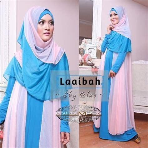 Gamis Jersey Donita Syar I laaibah by anonimoda blue sky baju muslim gamis modern