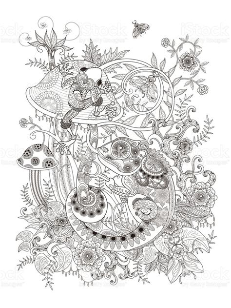 gorgeous adult coloring page frog  chameleon