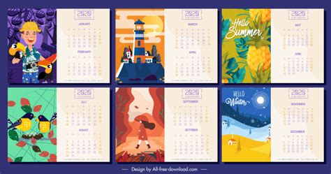 calendar templates colorful themes decor  vector  adobe illustrator ai ai format