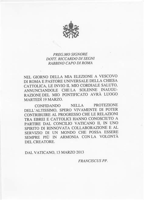 lettere a papa francesco papa francesco al capo rabbino di segni spero di poter