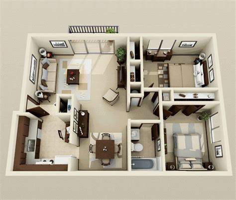 2 bedroom studio 50 3d floor plans lay out designs for 2 bedroom house or