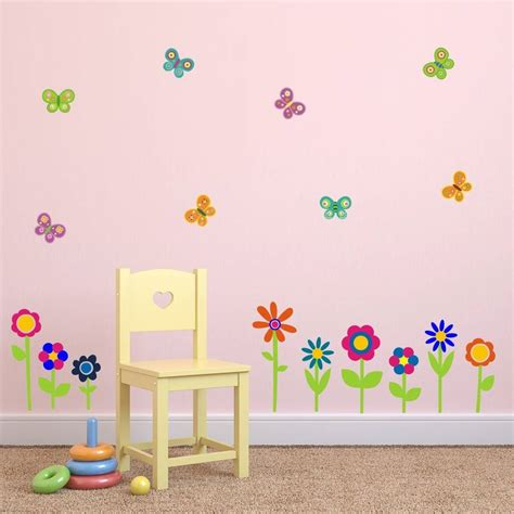 flower stickers for wall flowers and butterflies wall stickers by mirrorin