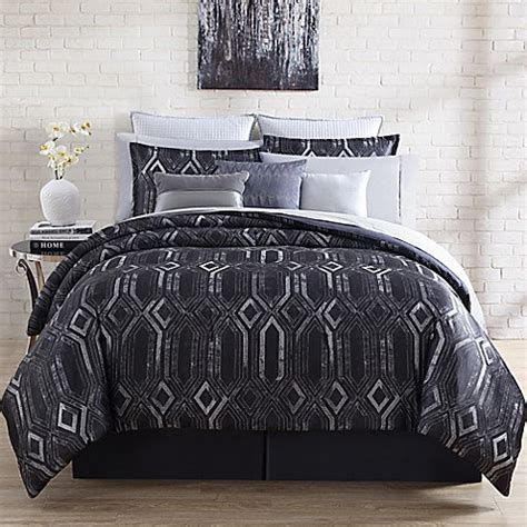 Bedding Set Geometric chu midnight geometric comforter set in black bed