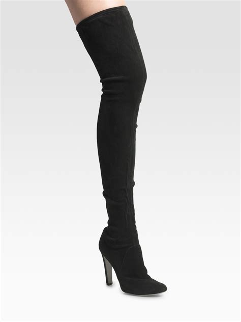 sergio stretch suede the knee boots in black lyst