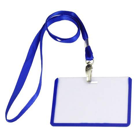 A11381 Name Tag Id Dengan Lanyard 2 pcs school office blue lanyard horizontal b8 id name badge card holders hy ebay