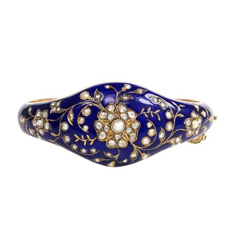 antique blue enamel pearl gold bangle bracelet at