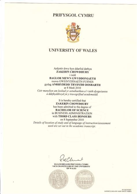Of Wales Mba by B Sc Hons Certificate