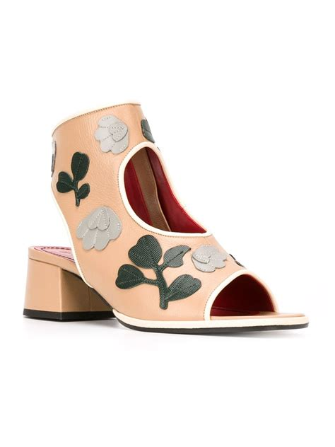 Flower Applique Sandals marni flower appliqu 233 sandals in brown lyst