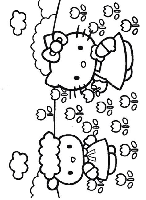 coloring activity pages hello kitty friend coloring page