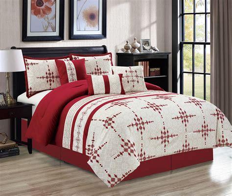 Beige And Burgundy Bedroom by 7 Embroidered Print Burgundy Beige Comforter Set