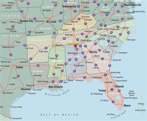 map of southeast usa southeastern map region area