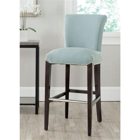 sky blue counter stools safavieh seth 29 3 in sky blue cushioned bar stool
