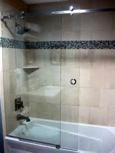 Contemporary Bathtub Shower Combo Serenity Frameless Sliding Shower Door Contemporary