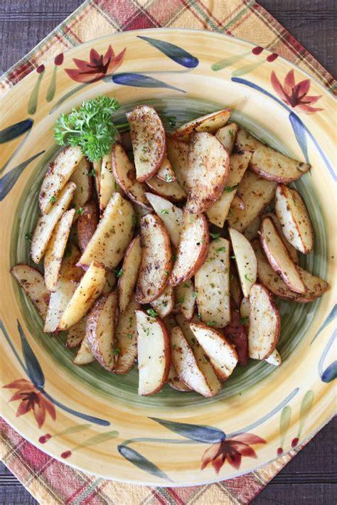 Wedges On 02 2 roasted potato wedges white apron