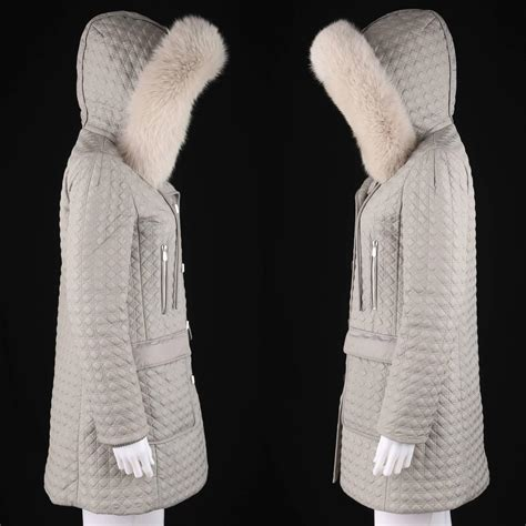 1 Quilted Fox Fur Trim Coat by Christian Gray Quilted Hooded Coat Genuine