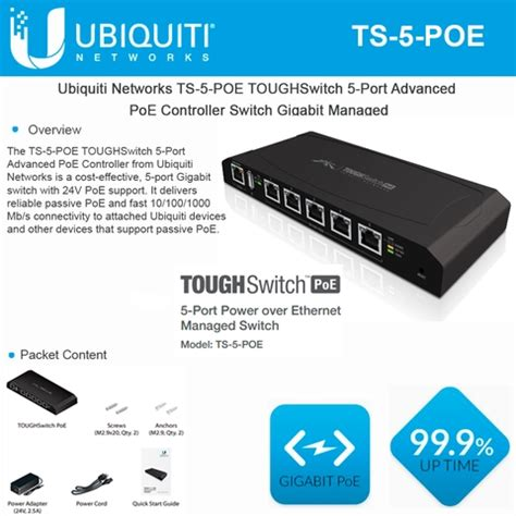 Ubiquiti Ts 5 Poe Toughswitch 5 Port Poe Switch Murah Meriah Mewah ubiquiti networks ts 5 poe toughswitch 5 port advanced poe controller