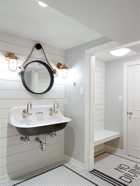 pool house bathrooms nautical changing room for pool house with white ship lap and fun no diving floor tile kohler