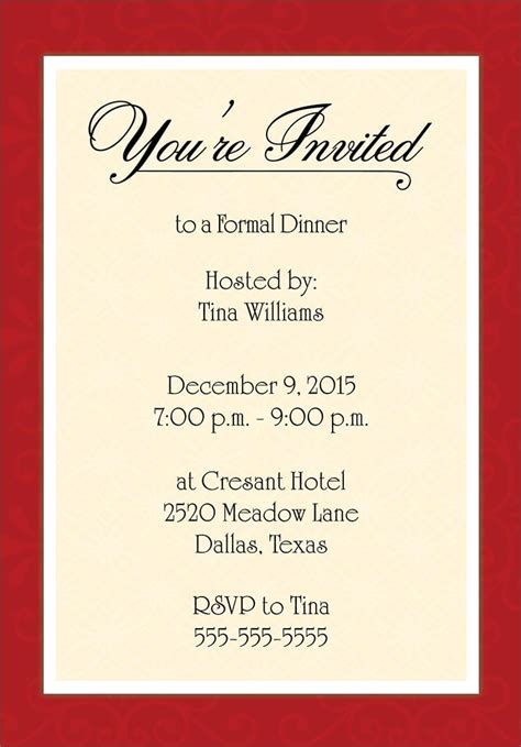 Sles Of Invitations Of Appreciation Dinner Just B Cause Dinner Invitation Templates Free