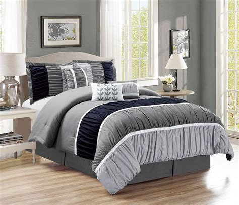 Bed In A Bag Set 11 Ruched Black Gray Bed In A Bag Set
