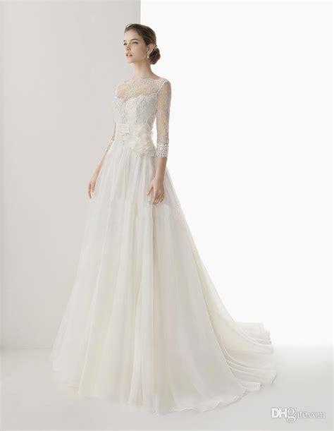 Handmade Wedding Dresses - 2014 wonderful handmade flowers sleeves a line bridal