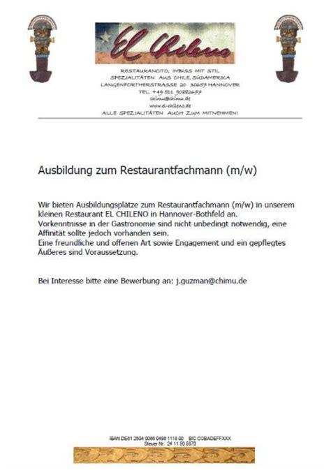 Anschreiben Bewerbung Ausbildung Restaurantfachmann bewerbungsschreiben restaurantfachmann in eigener sache