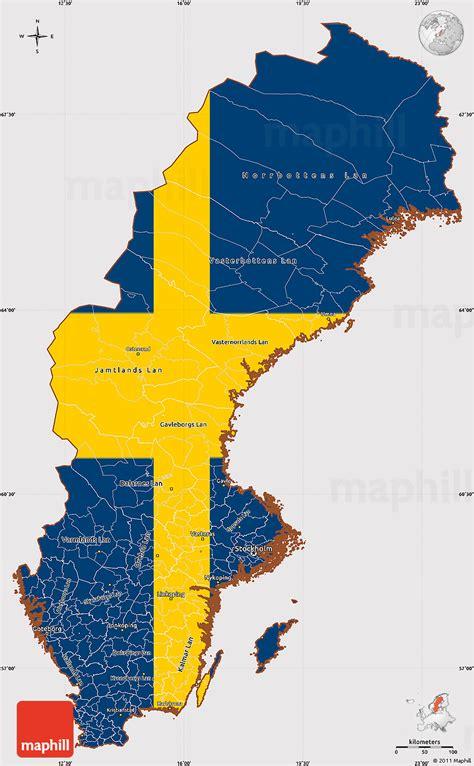 sweden on a map flag simple map of sweden