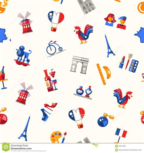 travel pattern in french france travel icons seamless pattern with famous french
