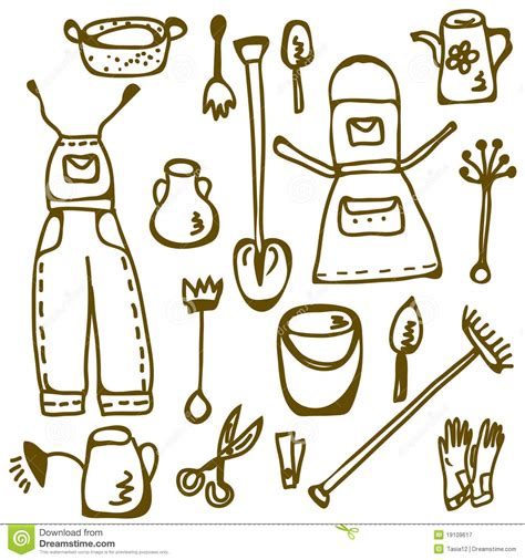 doodle tool garden tools set doodle royalty free stock photography