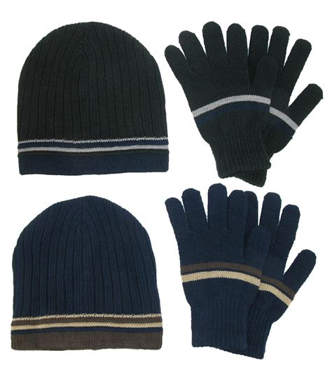 mens knit gloves mens knit striped beanie and gloves winter set by ctm