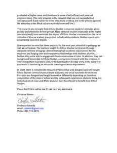 Petition Support Letter Dr Sleeter S Letter Of Support Ethnic Studies Now