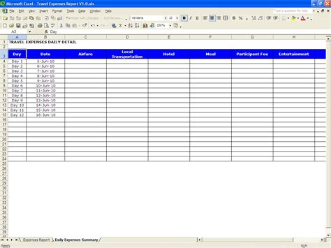 Travel Expenses Report Excel Templates Travel Expense Sheet Template Free