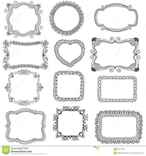 how to draw doodle frames frames stock vector illustration of