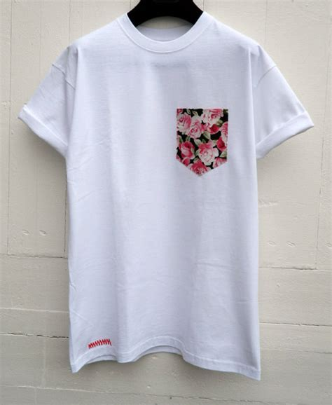 white t shirt with pattern pocket men s pink roses floral pattern white pocket t shirt
