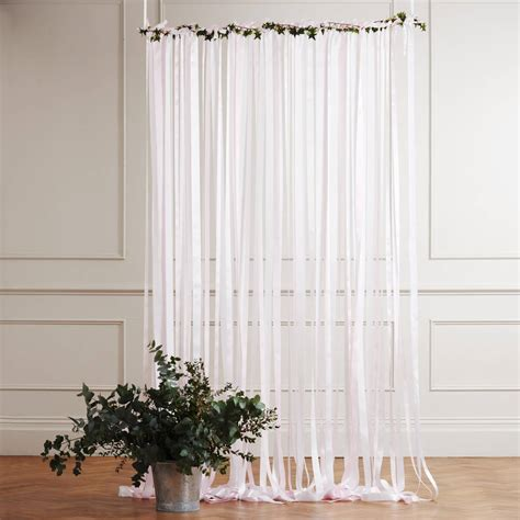 backdrop curtains ready to hang ribbon curtain backdrop baby pink by just