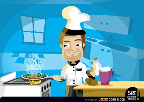 Hand Job Under Table Chef Cooking In The Kitchen Free Vector