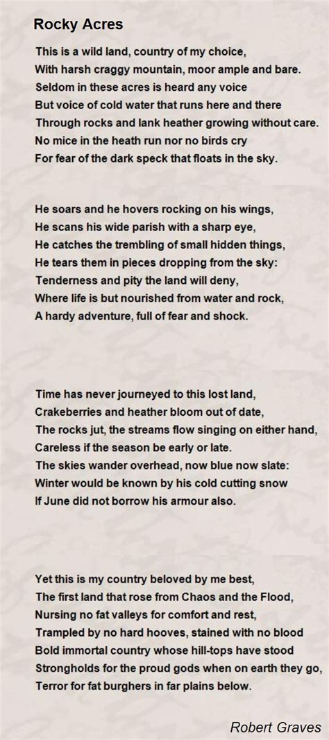 rocky acres poem by robert graves poem hunter comments