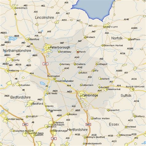 march map and road maps of cambridgeshire uk