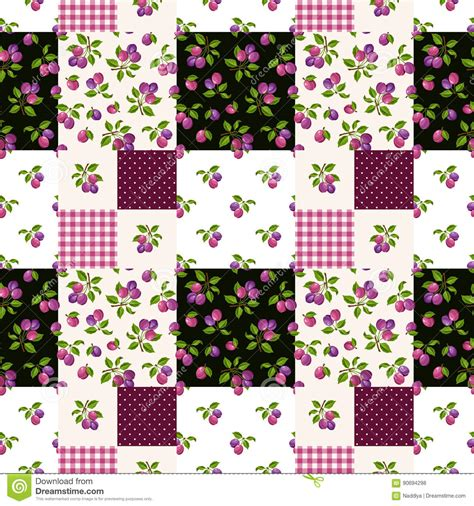Seamless Patterns With Gingham Polka Dot Iphone Semua Hp seamless patchwork pattern with plums vector illustration stock vector image 90694298