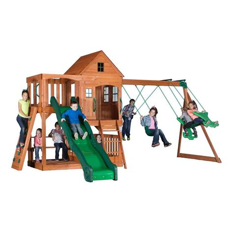two swing swing set backyard discovery pacific view all cedar playset 30015com