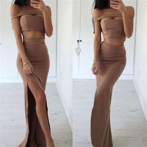 24325 Brown Back Lace Summer Dress two brown mermaid prom dress with slit