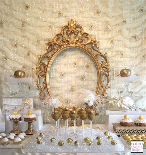 white and gold table decorations snow white gold
