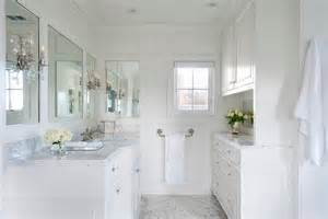 white bathroom with calacatta marble transitional
