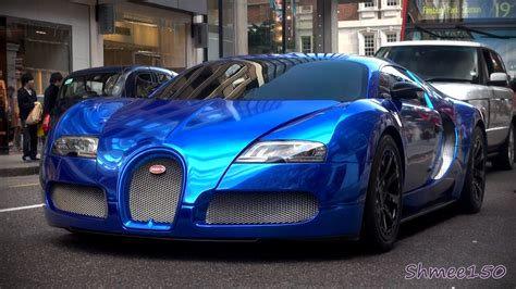 BLUE CHROME Bugatti Veyron Centenaire   Driving in London