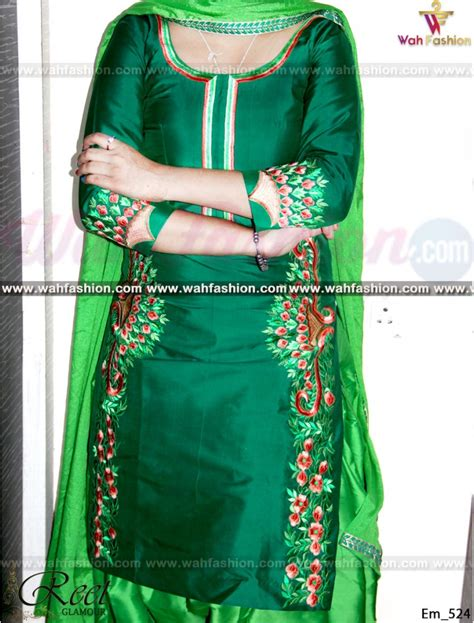 embroidery design for suits stunning green contrasted embroidered punjab suit buy