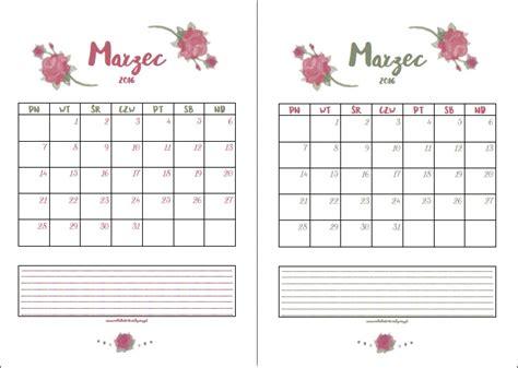 kalendarz 2016 do wydruku darmowy kalendarz do wydruku marzec 2016 notatnik kreatywny